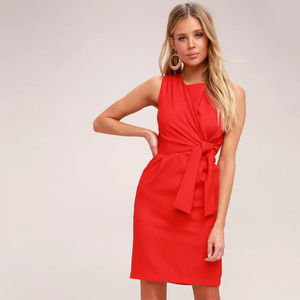 LULU's NWT Red Tie-Front Midi Dress